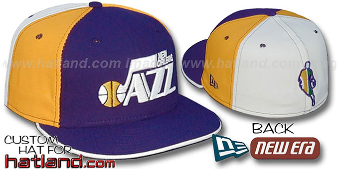 Jazz BACK 'INSIDER PINWHEEL' Purple-Gold-White Fitted Hat : pictured without stickers that these products are shipped with