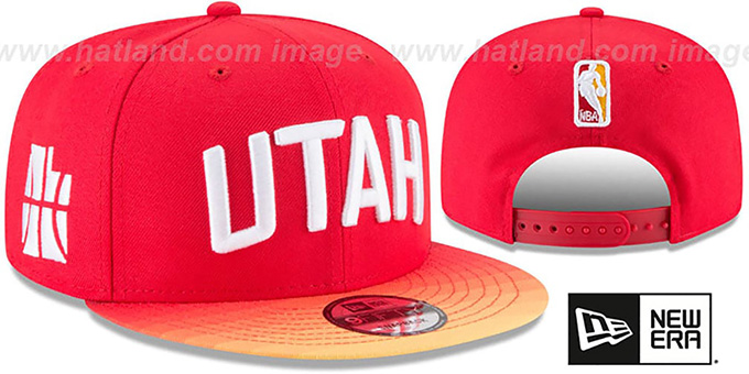 Jazz 'CITY-SERIES SNAPBACK' Red Hat by New Era : pictured without stickers that these products are shipped with