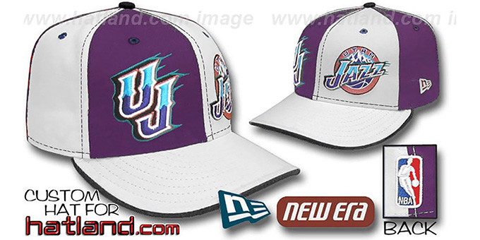 Jazz 'DOUBLE WHAMMY' Purple-White Fitted Hat : pictured without stickers that these products are shipped with