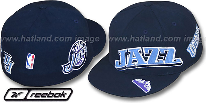 Jazz 'ELEMENTS' Fitted Hat by Reebok - navy : pictured without stickers that these products are shipped with