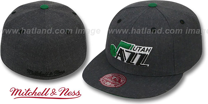 Jazz 'GREY HEDGEHOG' Fitted Hat by Mitchell & Ness : pictured without stickers that these products are shipped with