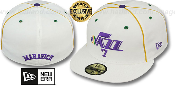 Jazz MARAVICH 'TEAM-UP' White Fitted Hat by New Era : pictured without stickers that these products are shipped with