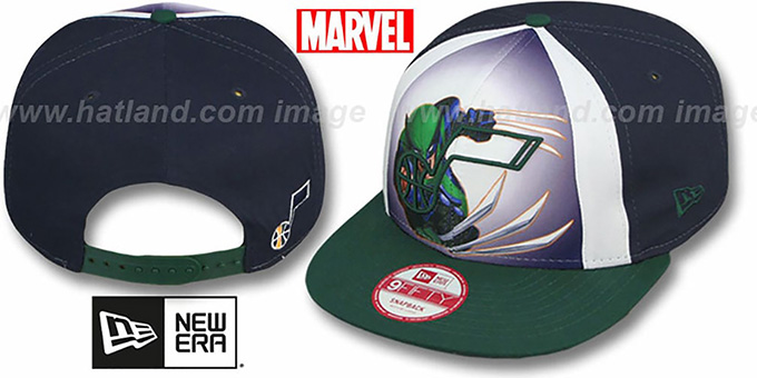 Jazz 'MARVEL RETRO-SLICE SNAPBACK' Navy-Green Hat by New Era : pictured without stickers that these products are shipped with
