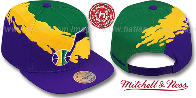 Jazz 'PAINTBRUSH SNAPBACK' Green-Gold-Purple Hat by Mitchell & Ness : pictured without stickers that these products are shipped with