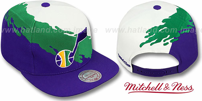Jazz 'PAINTBRUSH SNAPBACK' White-Green-Purple Hat by Mitchell & Ness : pictured without stickers that these products are shipped with