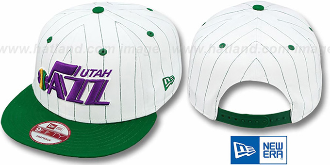 Jazz 'PINSTRIPE BITD SNAPBACK' White-Green Hat by New Era : pictured without stickers that these products are shipped with