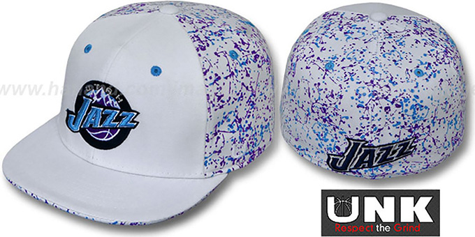 Jazz 'TC-SPLATTER' White-Team Color Fitted Hat by UNK : pictured without stickers that these products are shipped with