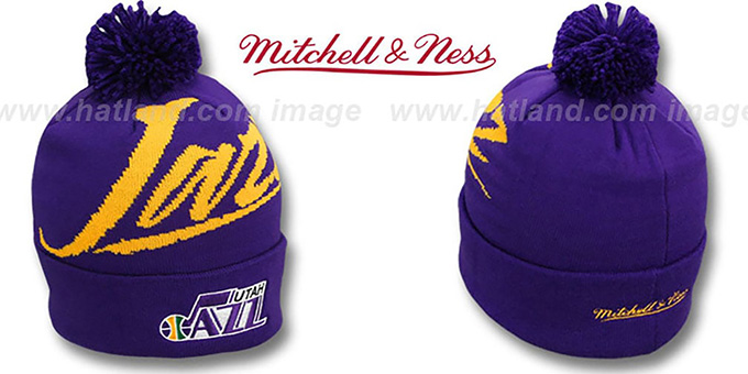 Jazz 'VICE BEANIE' Purple by Mitchell and Ness : pictured without stickers that these products are shipped with