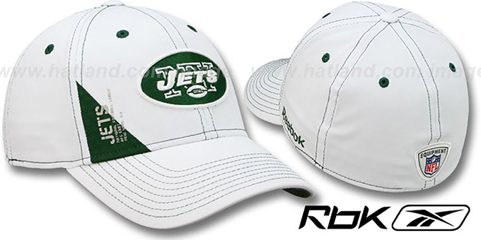 Jets '2010 DRAFT-DAY FLEX' White Hat by Reebok : pictured without stickers that these products are shipped with