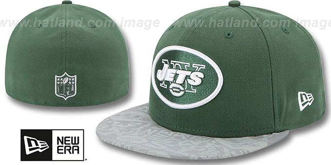 Jets '2014 NFL DRAFT' Green Fitted Hat by New Era : pictured without stickers that these products are shipped with