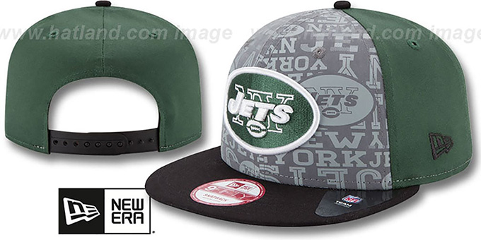 Jets '2014 NFL DRAFT SNAPBACK' Green-Black Hat by New Era : pictured without stickers that these products are shipped with
