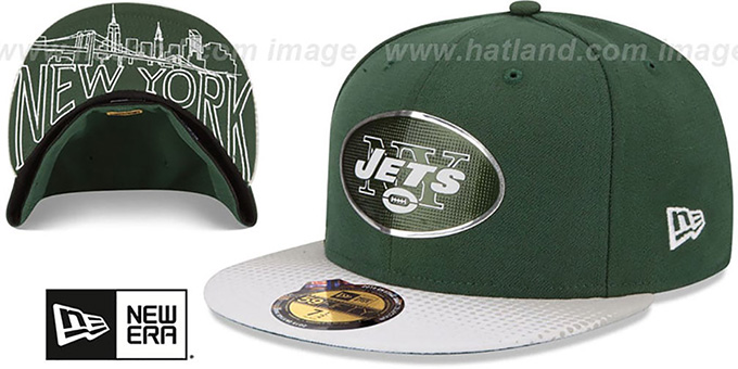 Jets '2015 NFL DRAFT' Green-White Fitted Hat by New Era : pictured without stickers that these products are shipped with