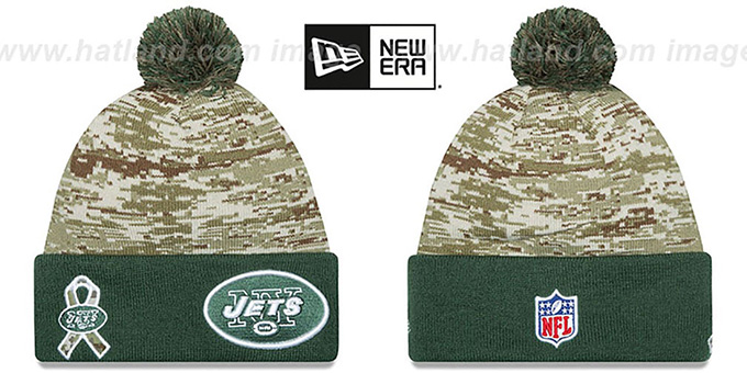Jets '2015 SALUTE-TO-SERVICE' Knit Beanie Hat by New Era : pictured without stickers that these products are shipped with