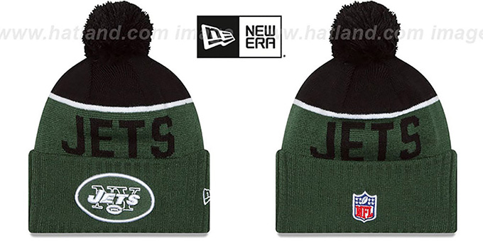 Jets '2015 STADIUM' Green-Black Knit Beanie Hat by New Era : pictured without stickers that these products are shipped with
