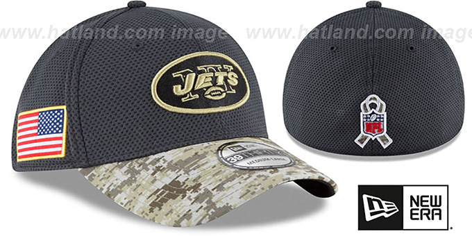Jets '2016 SALUTE-TO-SERVICE FLEX' Grey-Desert Hat by New Era : pictured without stickers that these products are shipped with