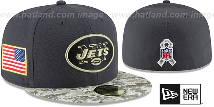 Jets '2016 SALUTE-TO-SERVICE' Grey-Desert Fitted Hat by New Era : pictured without stickers that these products are shipped with