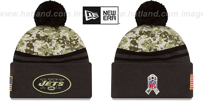 Jets '2016 SALUTE-TO-SERVICE' Knit Beanie Hat by New Era : pictured without stickers that these products are shipped with