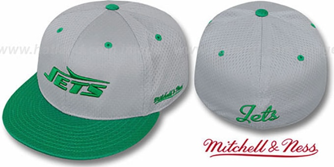 Jets '2T BP-MESH' Grey-Green Fitted Hat by Mitchell & Ness : pictured without stickers that these products are shipped with