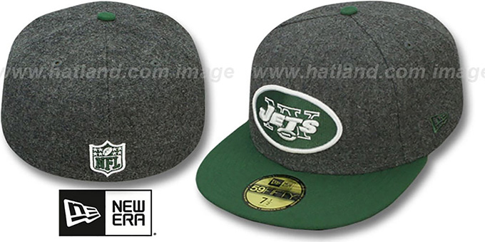 Jets '2T NFL MELTON-BASIC' Grey-Green Fitted Hat by New Era : pictured without stickers that these products are shipped with