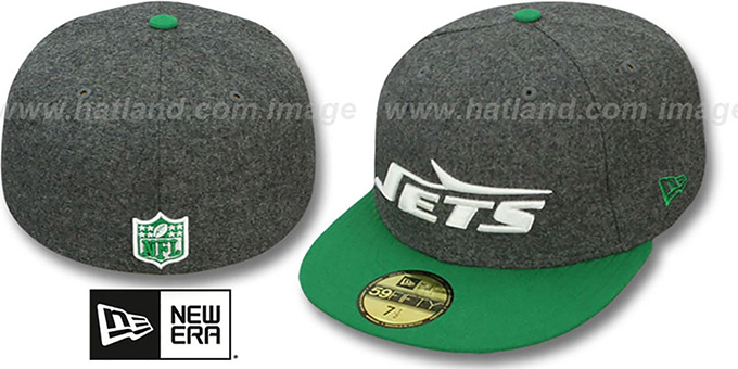Jets '2T NFL THROWBACK MELTON-BASIC' Grey-Green Fitted Hat by New Era : pictured without stickers that these products are shipped with