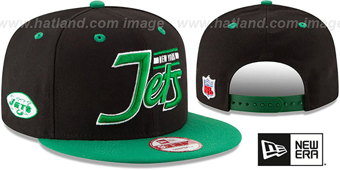 Jets '2T RETRO-SCRIPT SNAPBACK' Black-Green Hat by New Era : pictured without stickers that these products are shipped with