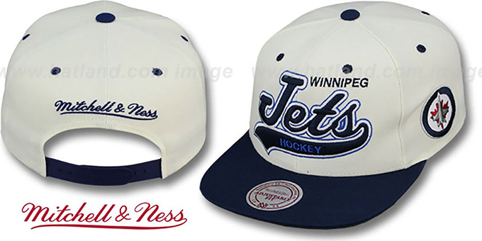 Jets '2T TAILSWEEPER SNAPBACK' White-Navy Hat by Mitchell & Ness : pictured without stickers that these products are shipped with