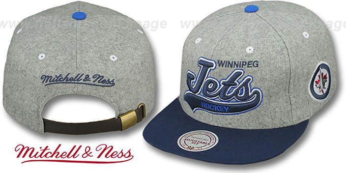 Jets '2T TAILSWEEPER STRAPBACK' Grey-Navy Hat by Mitchell & Ness : pictured without stickers that these products are shipped with