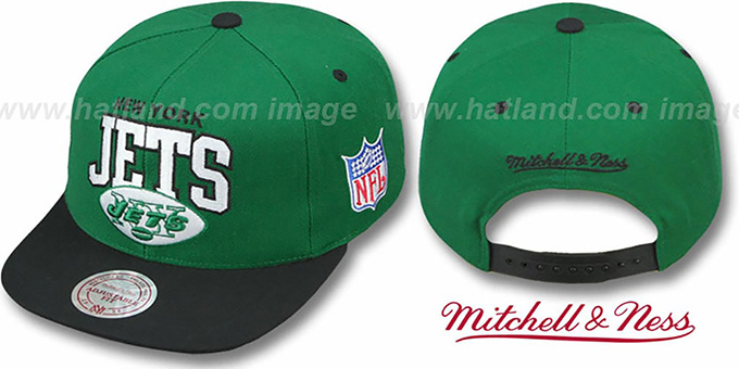 Jets '2T TEAM ARCH SNAPBACK' Adjustable Hat by Mitchell & Ness : pictured without stickers that these products are shipped with