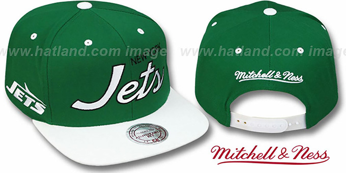 Jets '2T TEAM-SCRIPT SNAPBACK' Green-White Hat by Mitchell & Ness : pictured without stickers that these products are shipped with