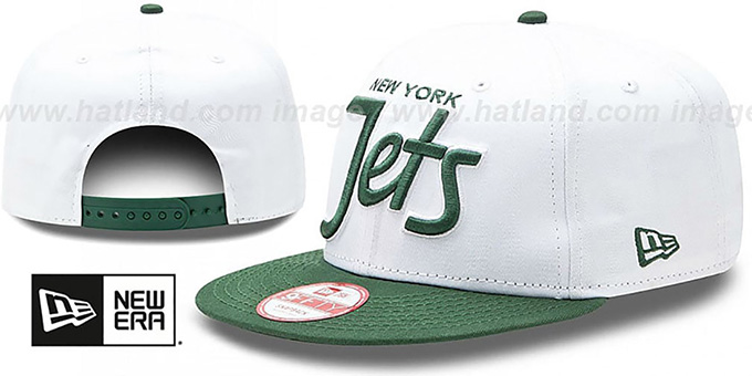 Jets '2T TEAM-SCRIPT SNAPBACK' White-Green Hat by New Era : pictured without stickers that these products are shipped with