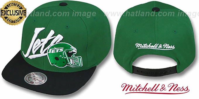 Jets '2T VICE SNAPBACK' Green-Black Adjustable Hat by Mitchell & Ness : pictured without stickers that these products are shipped with