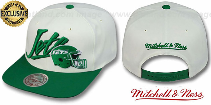 Jets '2T VICE SNAPBACK' White-Green Adjustable Hat by Mitchell & Ness : pictured without stickers that these products are shipped with