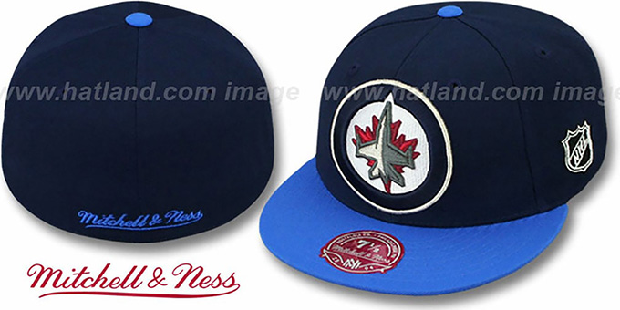 Jets '2T XL-LOGO' Navy-Sky Fitted Hat by Mitchell & Ness : pictured without stickers that these products are shipped with