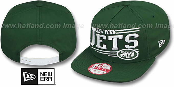 Jets 'ANGULAR A-FRAME SNAPBACK' Green Hat by New Era : pictured without stickers that these products are shipped with