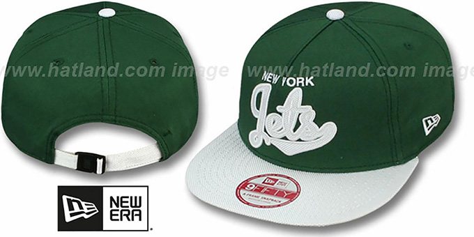 Jets 'BALLISTIC SCRIPT A-FRAME STRAPBACK' Green-White Hat by New Era