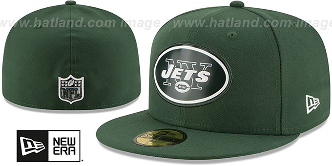 Jets 'BEVEL' Green Fitted Hat by New Era : pictured without stickers that these products are shipped with
