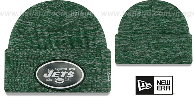 Jets 'BEVEL' Green-White Knit Beanie Hat by New Era : pictured without stickers that these products are shipped with