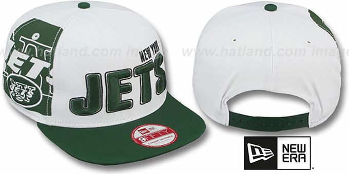 Jets 'BIGSIDE A-FRAME SNAPBACK' White-Green Hat by New Era : pictured without stickers that these products are shipped with