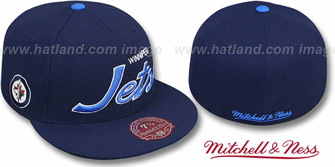 Jets 'CLASSIC-SCRIPT' Navy Fitted Hat by Mitchell & Ness : pictured without stickers that these products are shipped with