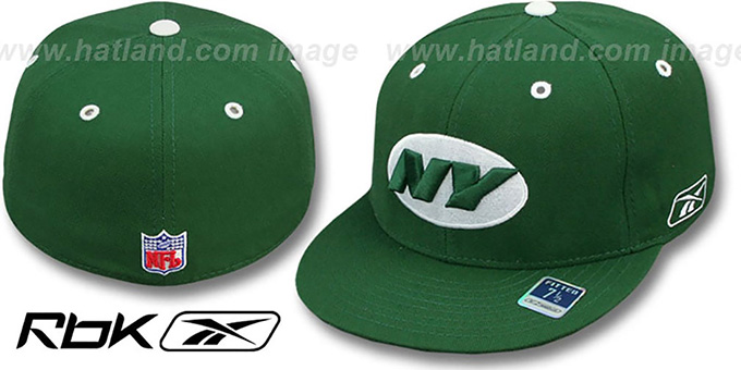 Jets 'COACHES-2' Green Fitted Hat by Reebok : pictured without stickers that these products are shipped with
