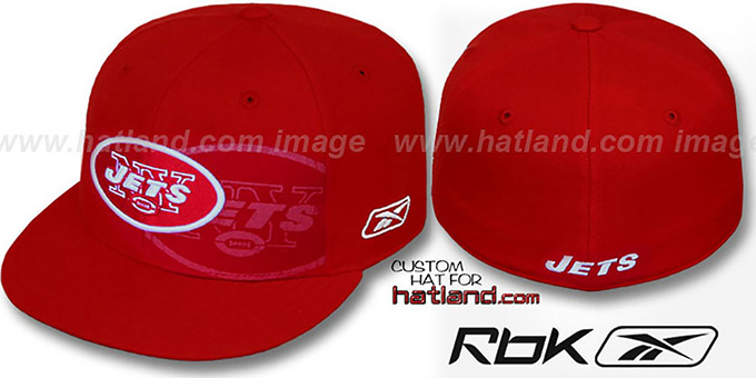 Jets 'DOUBLECOVERAGE' Red-White Fitted Hat by Reebok