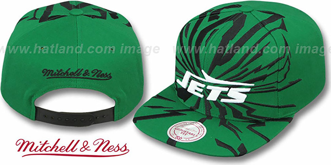 Jets 'EARTHQUAKE SNAPBACK' Green Hat by Mitchell & Ness : pictured without stickers that these products are shipped with