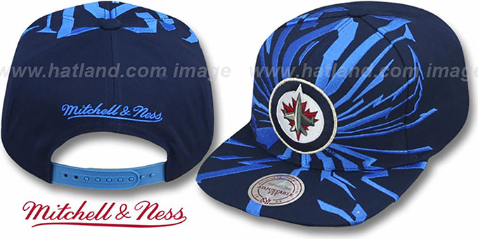 Jets 'EARTHQUAKE SNAPBACK' Navy Hat by Mitchell & Ness : pictured without stickers that these products are shipped with