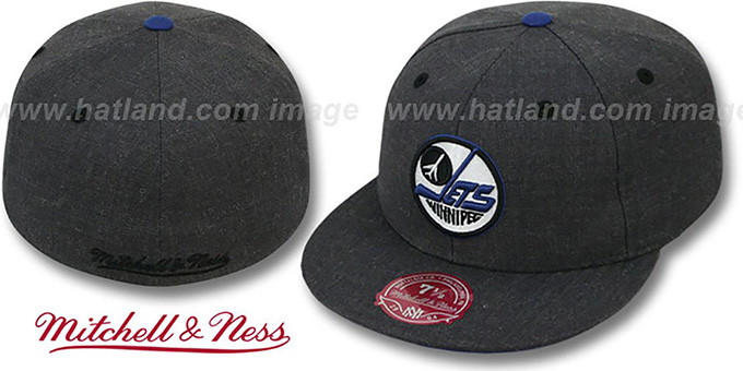 Jets 'GREY HEDGEHOG' Fitted Hat by Mitchell & Ness : pictured without stickers that these products are shipped with