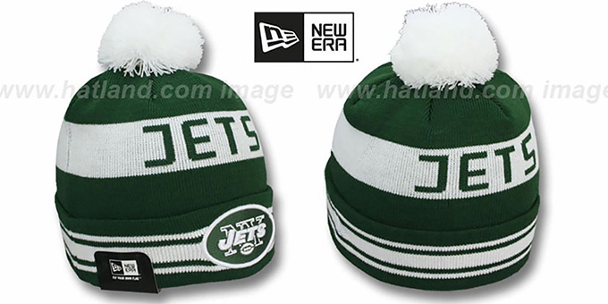 Jets 'JAKE-3' Green Knit Beanie Hat by New Era : pictured without stickers that these products are shipped with
