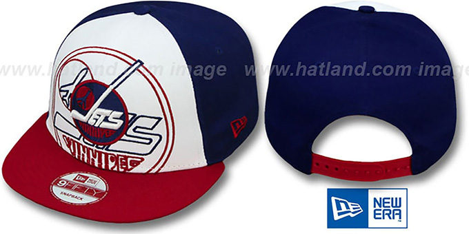 Jets 'LITTLE-BIG POP SNAPBACK' White-Navy-Red Hat by New Era : pictured without stickers that these products are shipped with