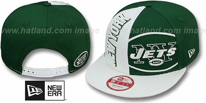 Jets 'NE-NC DOUBLE COVERAGE SNAPBACK' Hat by New Era : pictured without stickers that these products are shipped with