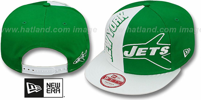 Jets 'NE-NC THROWBACK DOUBLE COVERAGE SNAPBACK' Hat by New Era : pictured without stickers that these products are shipped with