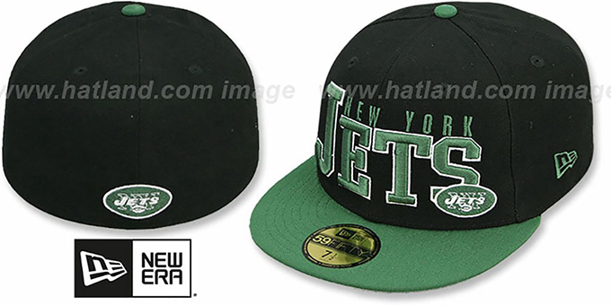Jets 'NFL 2T CHOP-BLOCK' Black-Green Fitted Hat by New Era : pictured without stickers that these products are shipped with
