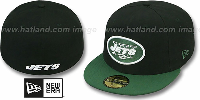 Jets 'NFL 2T-TEAM-BASIC' Black-Green Fitted Hat by New Era : pictured without stickers that these products are shipped with